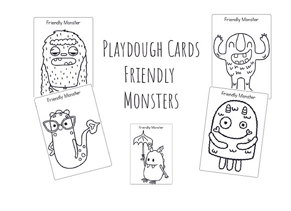 Friendly Monters - Playdough cards