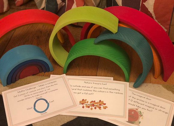 Wooden Rainbow curriculum linked cards (Maths, English and creative)