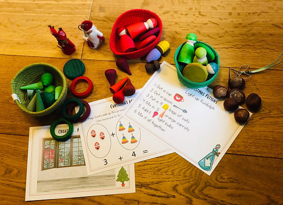 Christmas Activities Loose Parts/Grapat pieces cards