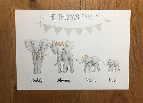 Elephant family print NO FRAME