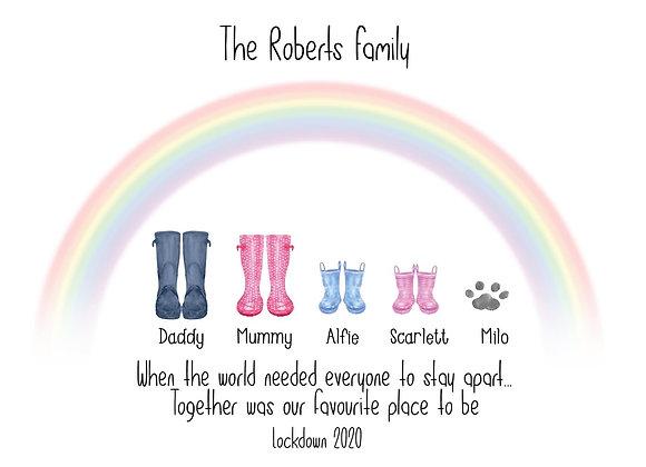 Rainbow welly boot prints