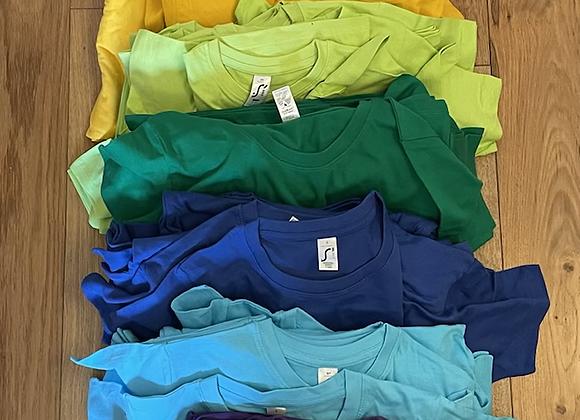 7 set of rainbow t-shirts