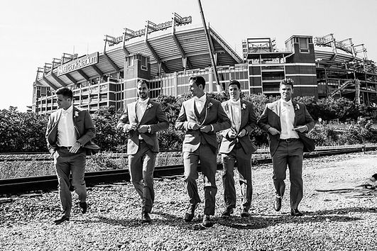 Groomsmen in front of M&T Bank Stadium #RAVENS