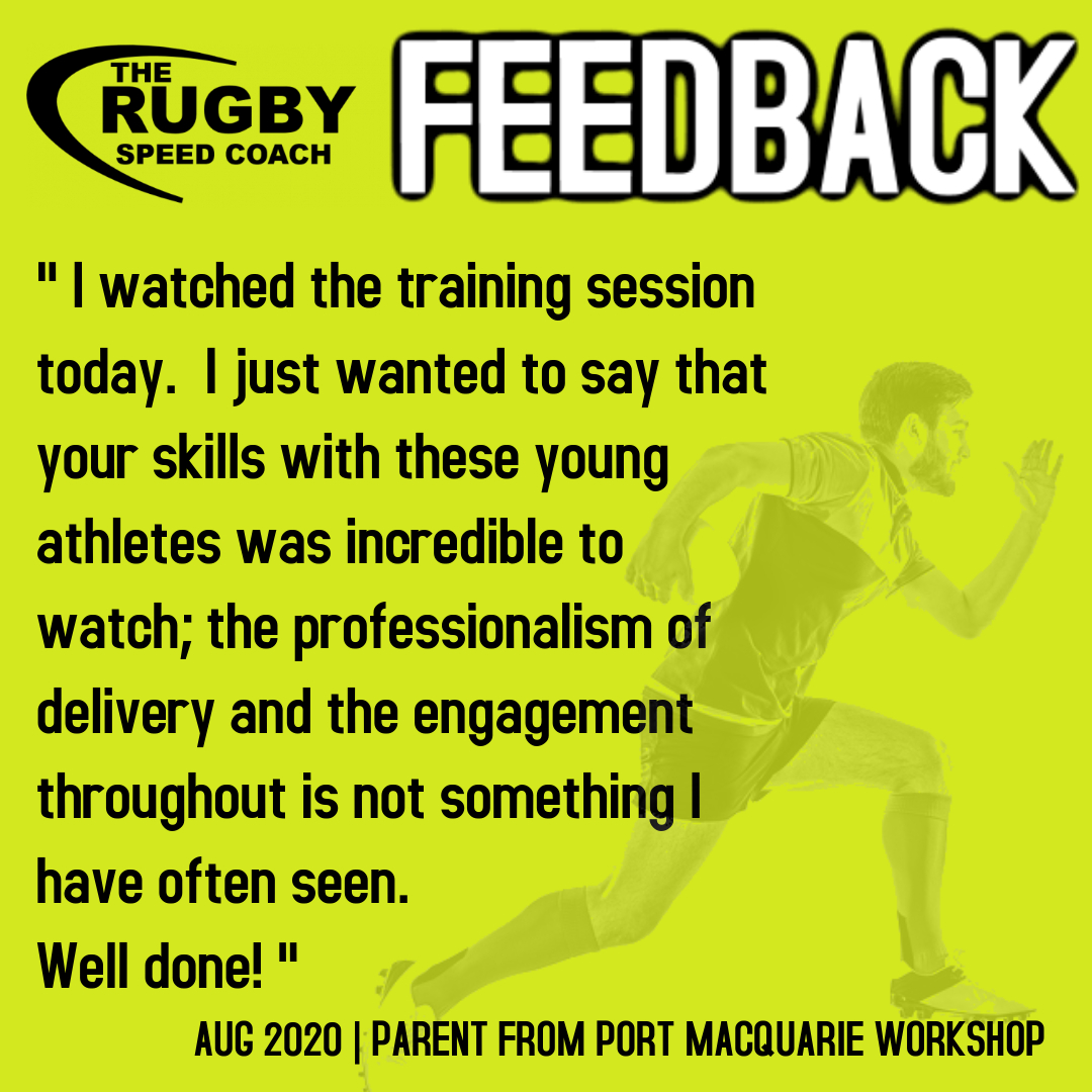 TESTIMONIAL RUGBY SPEED COACH PORT MACQUARIE 2020
