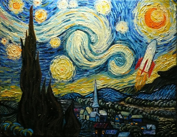 Starry Night with a Rocket