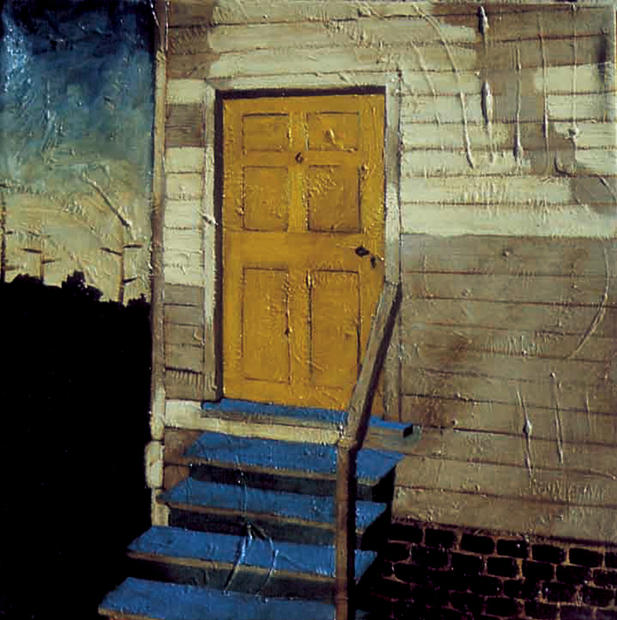 Yellow Door and Blue Stairs