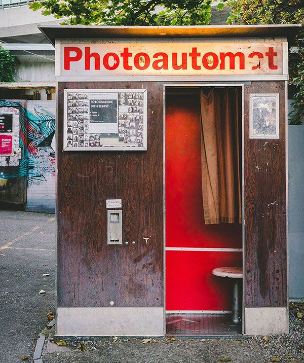 old school photo booth on the street
