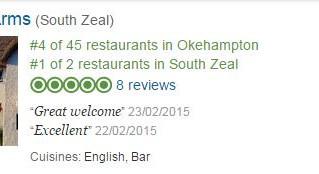 Top 4 Restaurants in Okehampton!