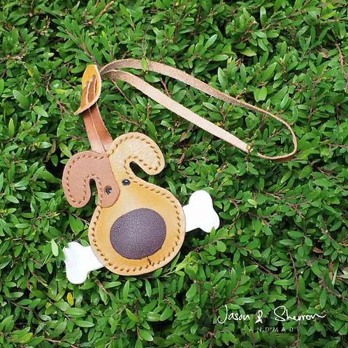 Dog with Bone: Leather Bag Charm
