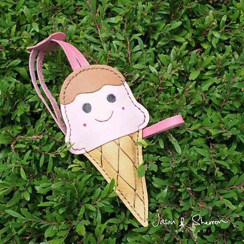 Pink Ice Cream: Leather Bag Charm