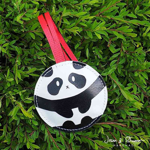 Round Panda: Leather Bag Charm