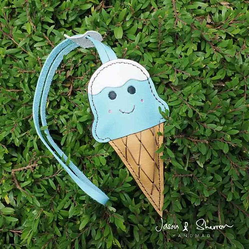 Blue Ice Cream: Leather Bag Charm