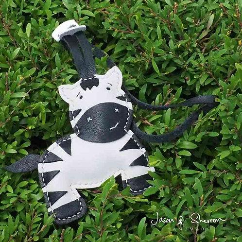 Zebra: Leather Bag Charm