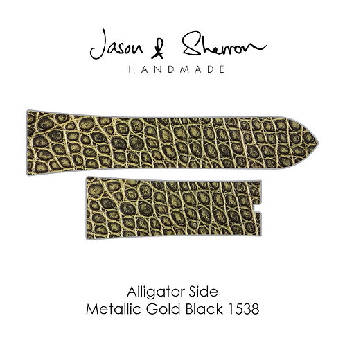 Alligator Side Metallic Gold Black 1538: Watch Strap Customisation