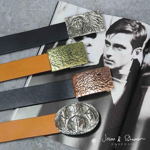 Men: Leather Belt Straps & Solid Brass Belt Buckle