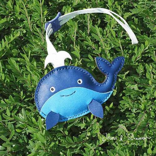 Whale: Leather Bag Charm