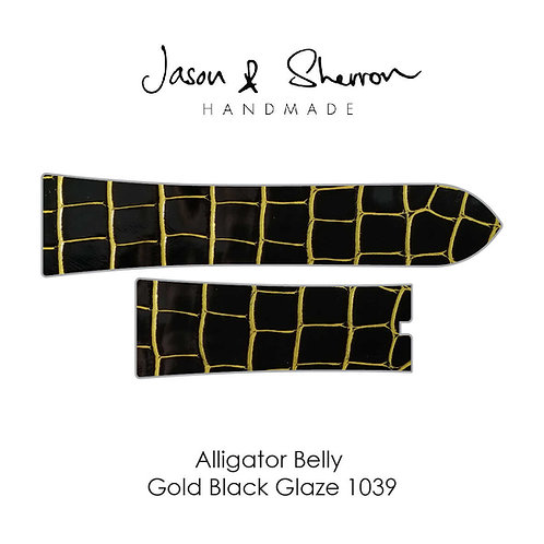 Alligator Belly Gold Black Glaze 1039: Watch Strap Customisation