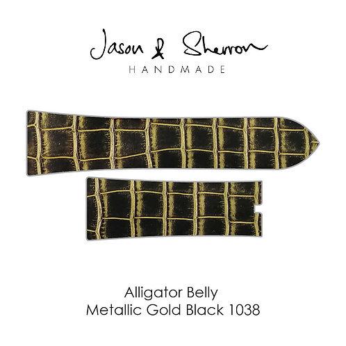 Alligator Belly Metallic Gold Black 1038: Watch Strap Customisation