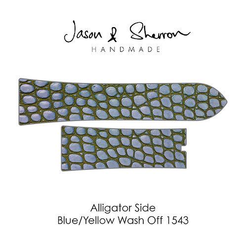 Alligator Side Blue Yellow Wash Off 1543: Watch Strap Customisation