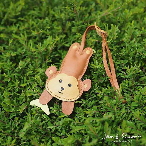 Monkey with Banana: Leather Bag Charm