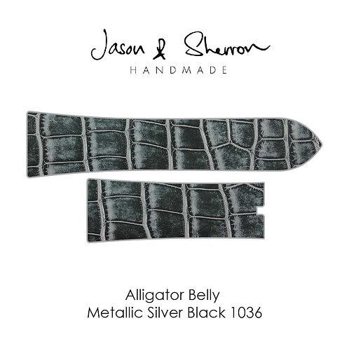 Alligator Belly Metallic Silver Black 1036: Watch Strap Customisation
