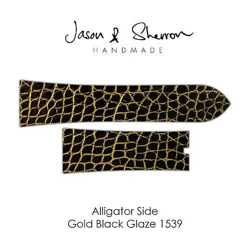 Alligator Side Gold Black Glaze 1539: Watch Strap Customisation
