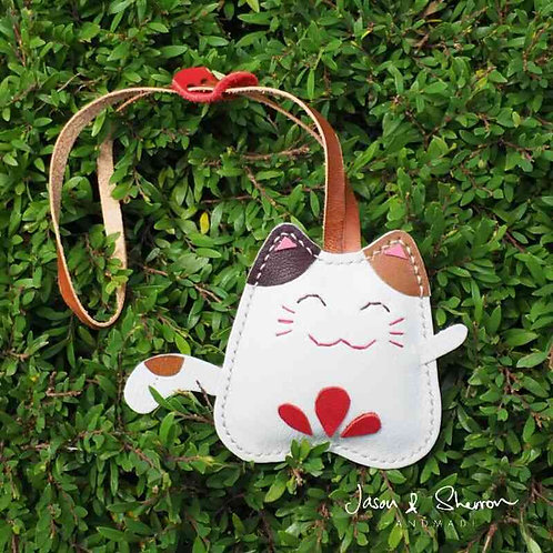 Fortune Cat: Leather Bag Charm
