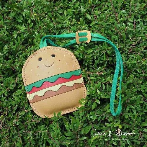 Hamburger: Leather Bag Charm