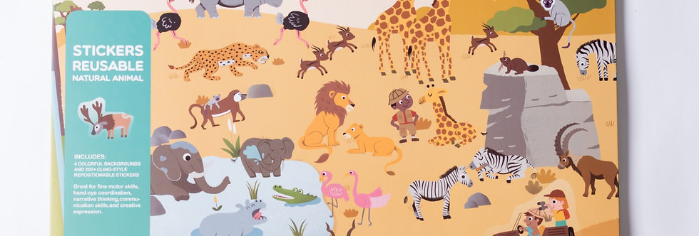 Набор с многоразовыми наклейками «Животные»