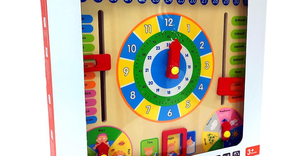 Часы-календарь деревянные «Күнтізбе»