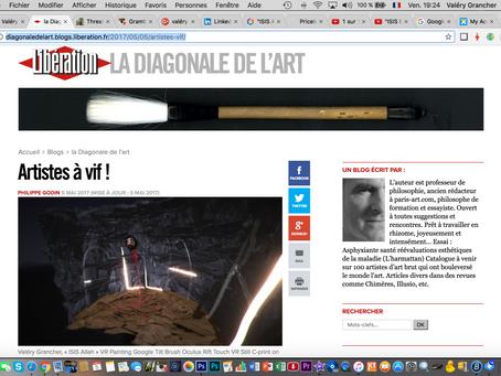 """Dans libération: La diagonale de l'Art """"Artistes à vif"""""""