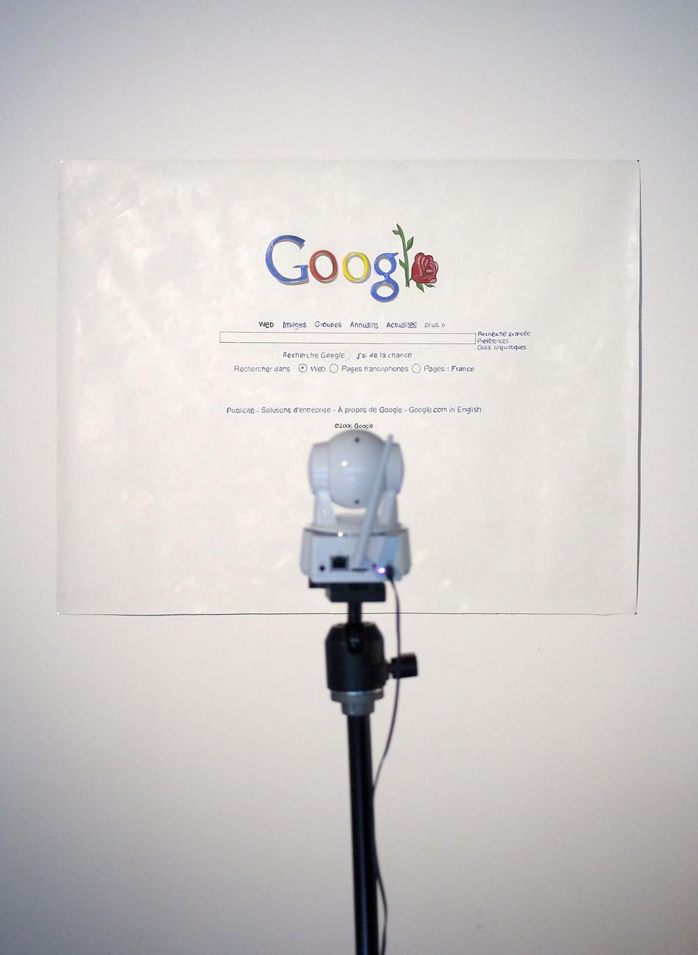 """""""Google rose"""" Oil on canvas webcam live transmission 2006 - 2016"""