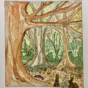 konijntjes in het bos