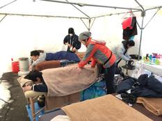 第73回冬季国体大会スケート競技会  スピードスケート 富士の国やまなし国体 1月28日ー2月1日の4日間  セイコオーバル野外会場ブースにて 選手方、関係者の方にストレッチ、スポーツアロマケアを行な