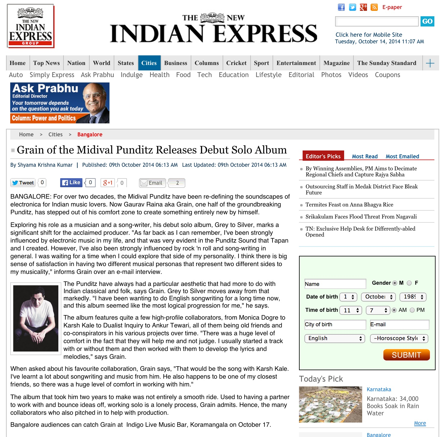 Indian Express Online Oct 2014