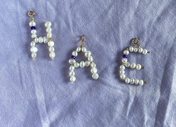Big Pearl Initial Charms