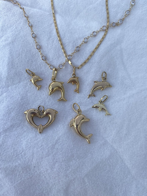 Vintage Dolphin Charm solid gold