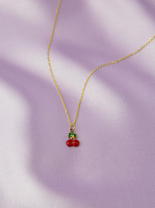 Red Cherry Necklace 14k Gold