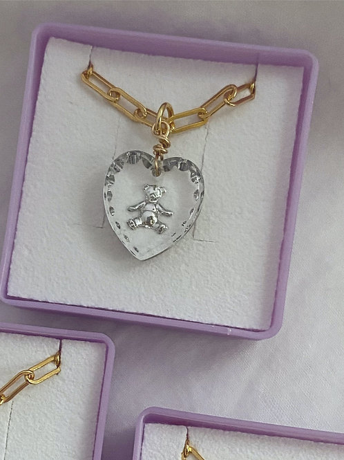Crystal Teddy Necklace
