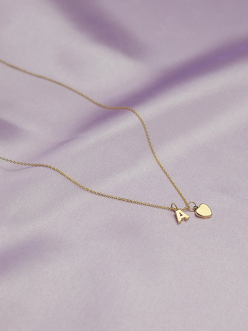 Initial Necklace 14k Gold