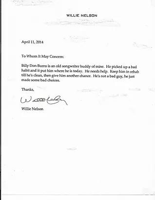 Willie Nelson Letter