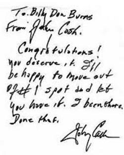 Johnny Cash Letter