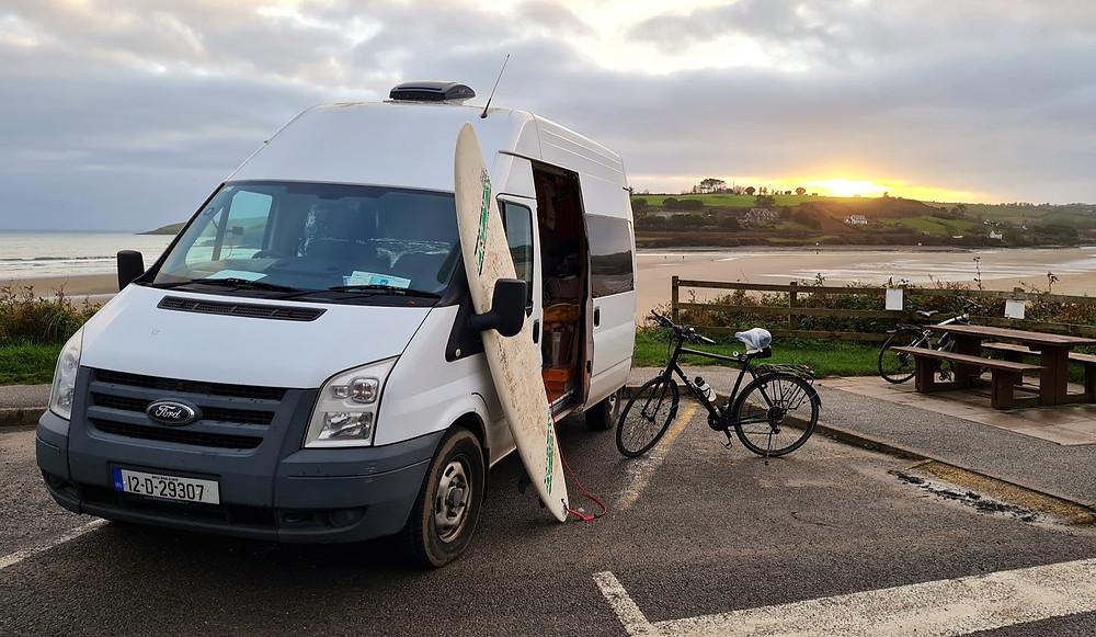 surfing cycling campervan ireland