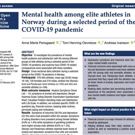 Psykisk helse blant norske toppidrettsutøvere under pandemien