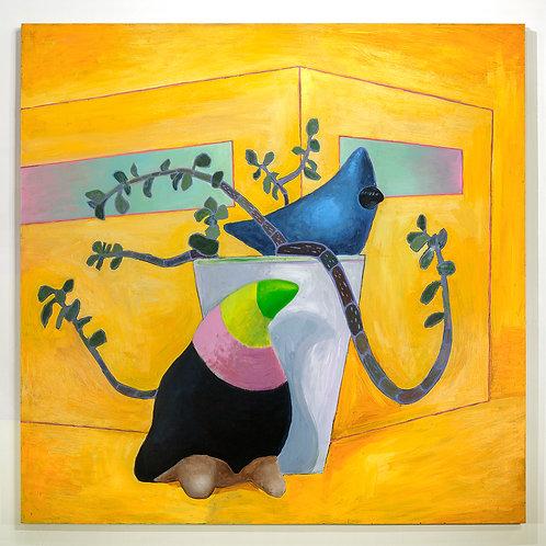 Couple d'oiseaux: Peinture acrylique et à l'huile sur bois, 152 x 152 cm, 2017
