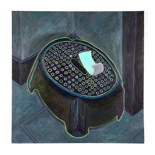 Billet bleu sur banc noir: Peinture acrylique sur bois, 121,92 x 121,92 cm, 2017