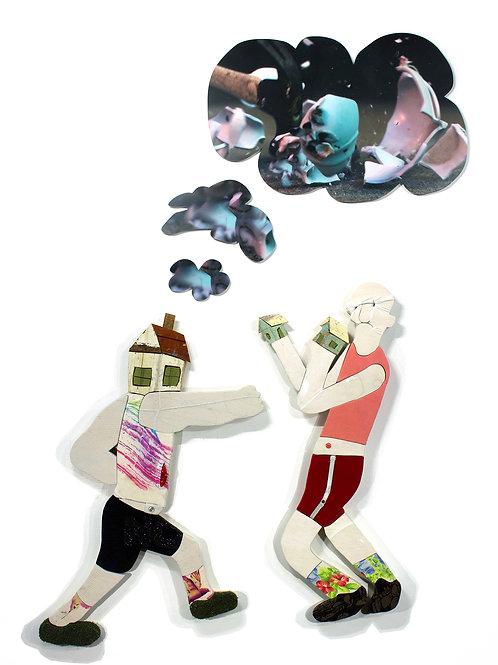 Boxe et porcelaine: Techniques mixtes, 92 X 80 cm, 2019