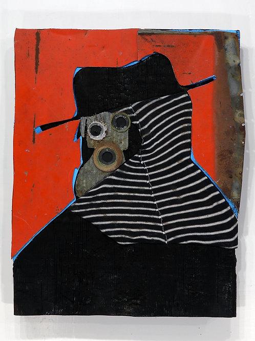 Auto-portrait au foulard: Techniques mixtes, 61 x 48 cm, 2019