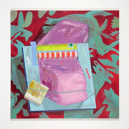 Piège à pâte rose: Peinture à l'huile sur bois,152 x 152 cm, 2017