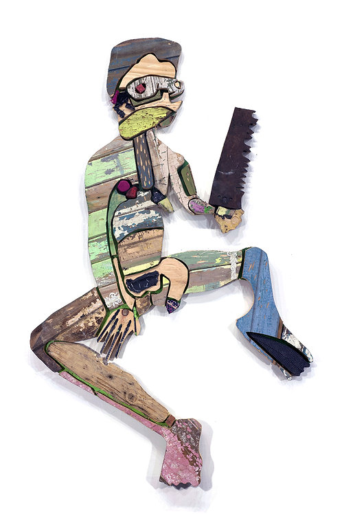 L'homme à la scie: Techniques mixtes, 74 X 117 cm, 2019